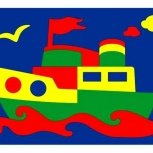 мягкая мозаика паровозик, пароходик, Новосибирск