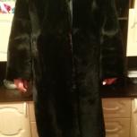 Шуба цигейковая черная+ пальто в подарок, Новосибирск