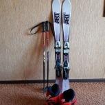 Горные лыжи детские+крепление+ботинки+палки+шлем, Новосибирск