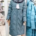 Длинное ментоловое пальто 46-56р нат мех тинсулейт, Новосибирск