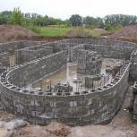 Заливка фундамента.Строительство домов, Новосибирск