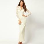 Ажурное белое платье  длинное обтягивающее. размер 42-44, Новосибирск
