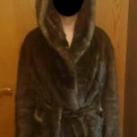 Продам норковую шубу с капюшоном и поясом. Коричневая. Как новая., Новосибирск