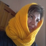 Вязанные на спицах ангийской вязкой снуды, шарфы новые, Новосибирск