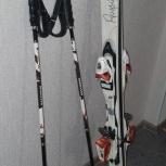 Продам комплект горнолыжный (лыжи, палки, ботинки, чехол, очки), Новосибирск