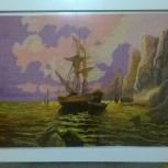 """Картина, вышитая крестом """"В бухте"""", Новосибирск"""