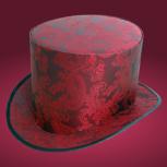 Свадебная шляпа цилиндр красного цвета с растительным орнаментом, Новосибирск