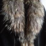Дублёнка женская длинная, мех чернобурка, р.42-44, б/у, Новосибирск