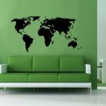 наклейка на стену Карта мира, Новосибирск