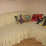 Продам угловой диван из  белого кож.зам.с евро чехлом, Новосибирск