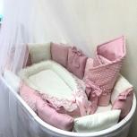 Комплект в кроватку (бортики, простынь, конверт и гнездышко) пудровый, Новосибирск