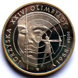 Польша 1000 злотых 1987 Серебро. Олимпиада. Проба. Стрельба из лука, Новосибирск