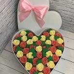 """Шоколадные цветы в коробке """"Сердце"""" (39 роз), Новосибирск"""