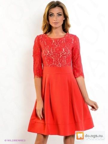 bbc54d575a7 Красное платье в кружевом Zarina б у фото
