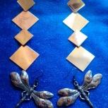 Продам серьги стрекозки и серьги, металл под золото, бижутерия, Новосибирск