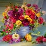"""Алмазная мозайка """"ваза с цветами"""" 40х30 см, Новосибирск"""