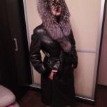 Продам кожаное пальто на меху(мутон) 48-50р. с капюшоном(чернобурка), Новосибирск