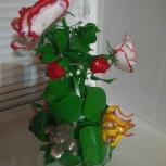 Ваза с цветами из орг.стекла, Новосибирск