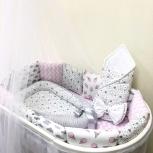 Комплект в кроватку (бортики, простынь, конверт и гнездышко) мороженки, Новосибирск