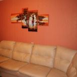 Элитный угловой диван с софой из натуральной кожи, Новосибирск