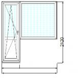 Балконный блок (дверь + глухое окно), под ключ в панельный дом  (шт.), Новосибирск