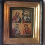 Икона четырехчастная, 4 иконы Богородицы, 19 век, Новосибирск