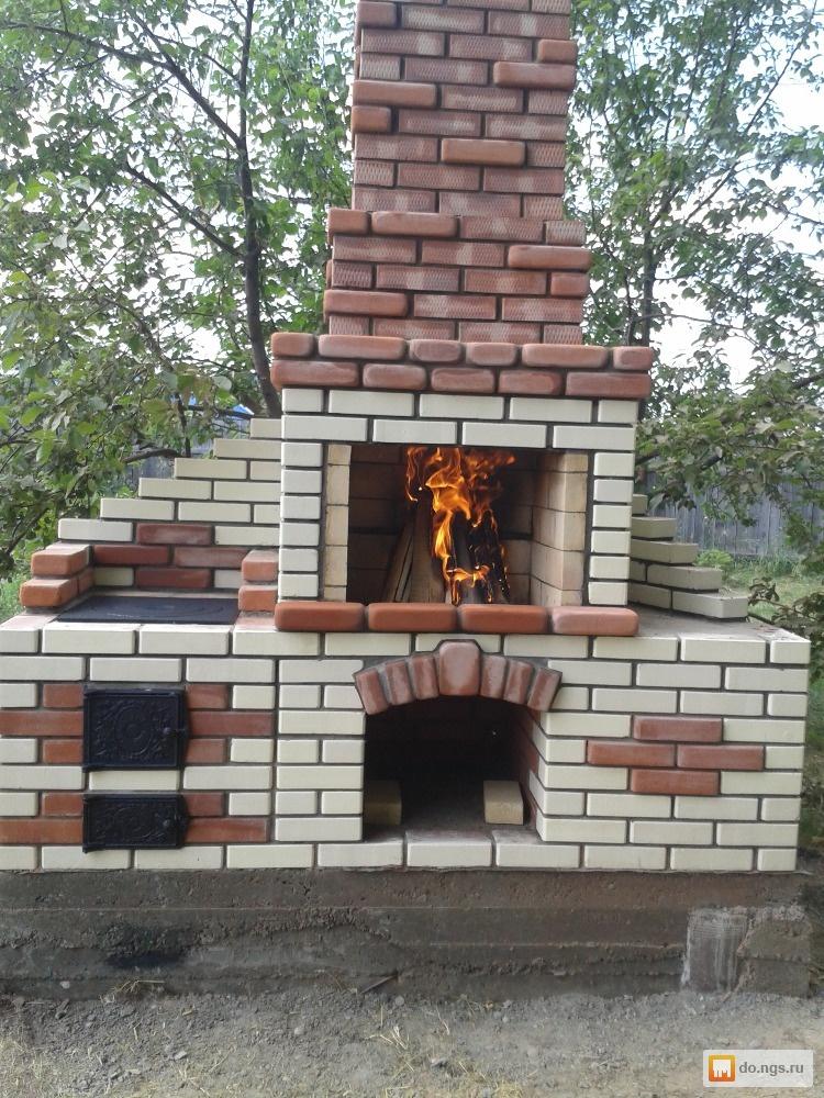 печь барбекю как соединить дымоход фото несколько
