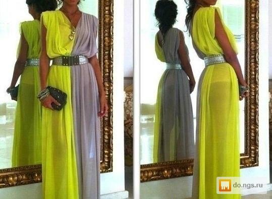 Двухцветное платье шифон