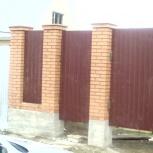 Монтаж заборов. Изготовление ворот, калиток. Кирпичные столбы, Новосибирск