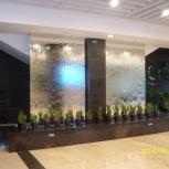 Водопады декоративные по стеклу, воздушно пузырьковые панели и колонны, Новосибирск